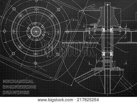 Mechanical engineering drawings. Vector. Black Mechanical engineering drawing. Points