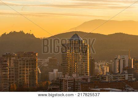 Skyline of buildings at a wealthy neighborhood in Las Condes district Santiago de Chile