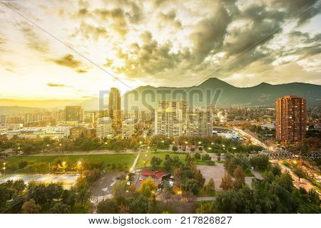 Santiago Region Metropolitana Chile - May 25 2017: Parque Araucano a park in the center of Las Condes district the wealthiest financial and residential district in the country.
