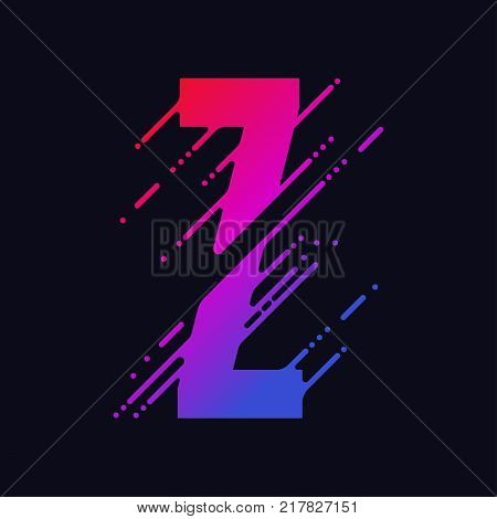 Alphabet letter Z with liquid splash and drops, abstract colorful ink abc, stylized dynamic paint trail font. Vector