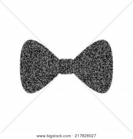 Bow Tie icon. Vector. Black icon from many ovelapping circles with random opacity on white background. Noisy. Isolated.