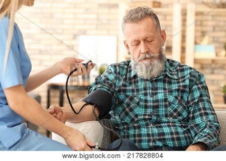 Young caregiver measuring blood pressure of senior man at home