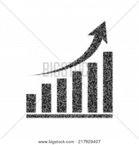 Growing graph sign. Vector. Black icon from many ovelapping circles with random opacity on white background. Noisy. Isolated.
