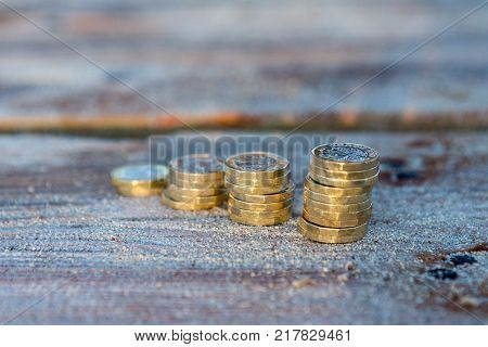 Pile Of New British Pound Coins