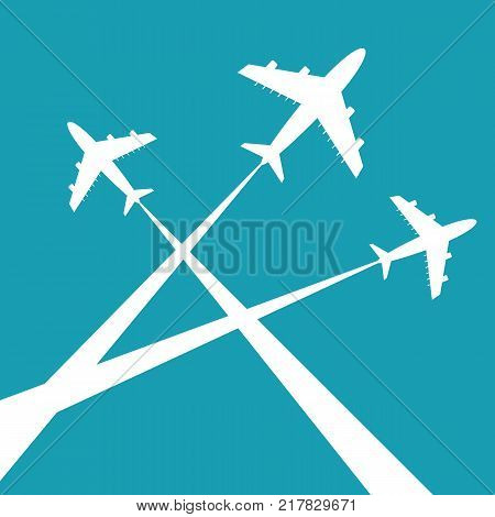 Silhouettes planes in sky. Traces of the plane. Stock flat vector illustration.