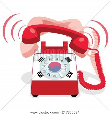 Ringing red stationary phone with rotary dial and with flag of South Korea