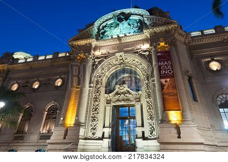 Santiago Region Metropolitana Chile - June 07 2016: The Bellas Artes neighborhood is one of the most traditional and emblematic neighborhoods in Santiago and well known for the French architecture of the buildings with the National Museum of Fine Arts as