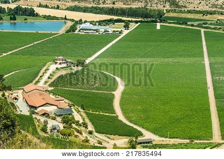 Santa Cruz O'Higgins Region Chile - December 20 2016: A view of Santa Cruz vineyard in the Colchagua Valley an emerging tourist attraction around wine in the