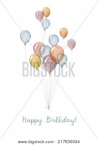 A hand made Happy Birthday card with illustration of watercolor balloons.