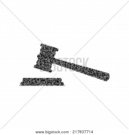 Justice hammer sign. Vector. Black icon from many ovelapping circles with random opacity on white background. Noisy. Isolated.