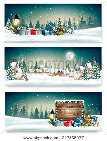 Three Holiday Christmas banners with a winter village and presents. Vector