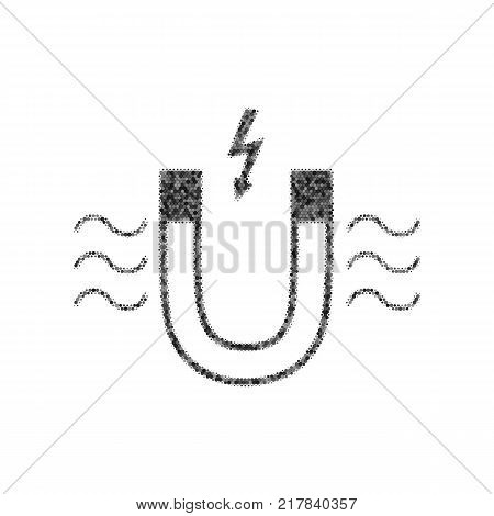 Magnet with magnetic force indication. Vector. Black icon from many ovelapping circles with random opacity on white background. Noisy. Isolated.