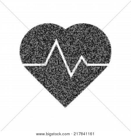 Heartbeat sign illustration. Vector. Black icon from many ovelapping circles with random opacity on white background. Noisy. Isolated.