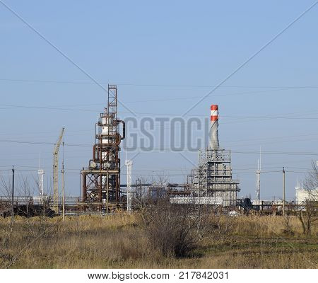 The Column Of Deep Processing Of Fuel Oil. A Furnace For Heating Fuel Oil. Processing Of Fuel Oil. O