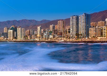 Antofagasta Region de Antofagasta Chile - April 19 2017: Panoramic view of the coastline of Antofagasta know as the Pearl of the North and the biggest city in the Mining Region of northern Chile.