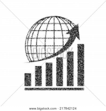 Growing graph with earth. Vector. Black icon from many ovelapping circles with random opacity on white background. Noisy. Isolated.