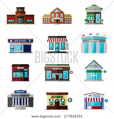 Different shops, buildings and stores flat icon set isolated on white background. Includes restaurant exterior, school icon, flower shop template, simple shop, diy store building, stadium, tailors, pizzeria, pharmacy, theatre, irish pub, dairy.