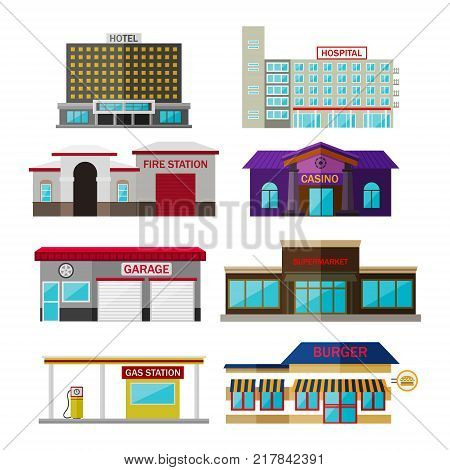 Different shops, buildings and stores flat icon set isolated on white. Includes hotel building, hospital, fire station, casino, garage, supermarket, gas station icon, burger.