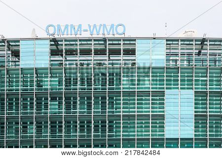 Geneva, Switzerland - October 1, 2017: The WMO building in Geneva. The WMO is the World Meteorological Organization and an intergovernmental organization with a membership of 191 member States