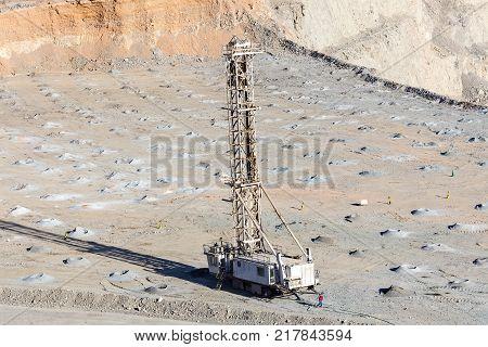 Copiapo Region de Atacama Chile - January 17 2012: Preparation for a blasting in a Copper mine at northern Chile.