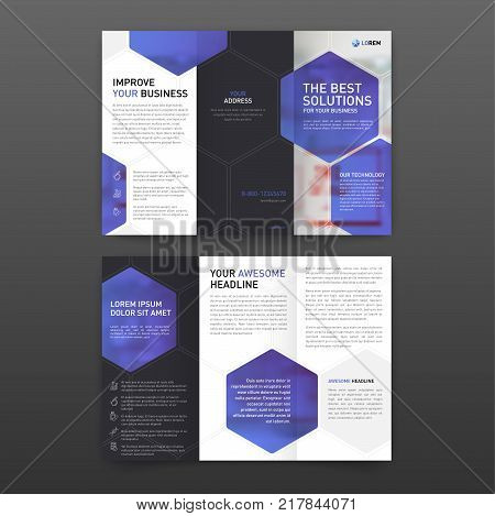 Medical tri fold brochure template Layout with icons set. Pharmaceutical brochure tri fold modern design template.