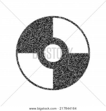 Vector CD or DVD sign. Vector. Black icon from many ovelapping circles with random opacity on white background. Noisy. Isolated.