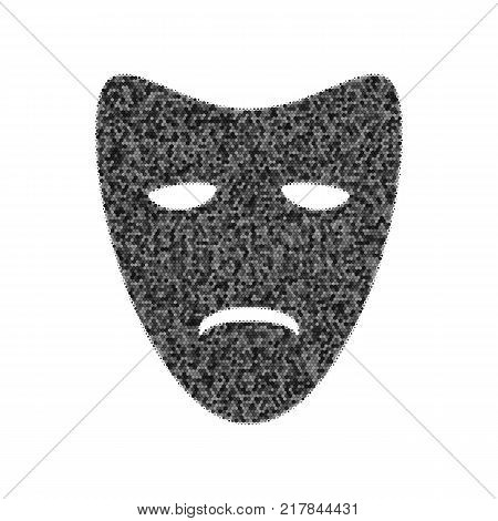 Tragedy theatrical masks. Vector. Black icon from many ovelapping circles with random opacity on white background. Noisy. Isolated.