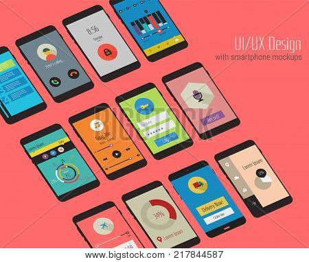 Trendy mobile UI kit, material geometric backgrounds. Welcome, lock, home page and file manager screens, with 3d isometric smartphone mockups