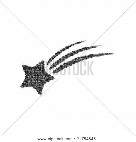 Meteor shower sign. Vector. Black icon from many ovelapping circles with random opacity on white background. Noisy. Isolated.