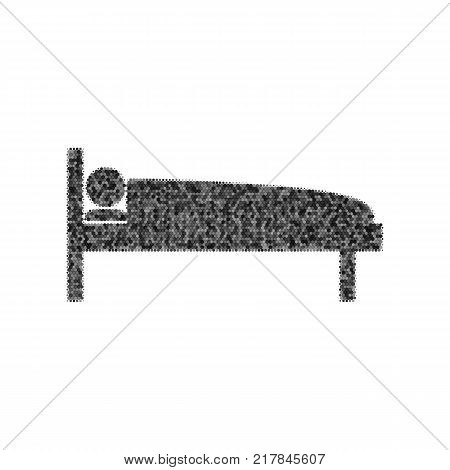 Hospital sign illustration. Vector. Black icon from many ovelapping circles with random opacity on white background. Noisy. Isolated.