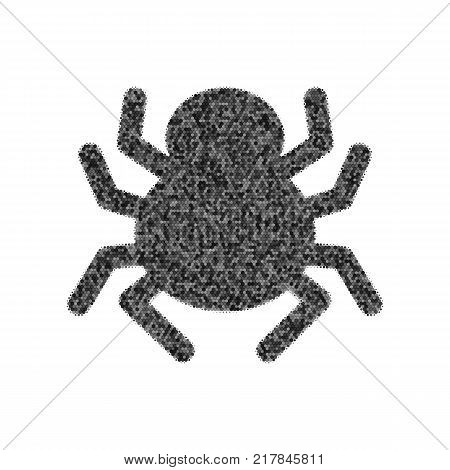 Spider sign illustration. Vector. Black icon from many ovelapping circles with random opacity on white background. Noisy. Isolated.