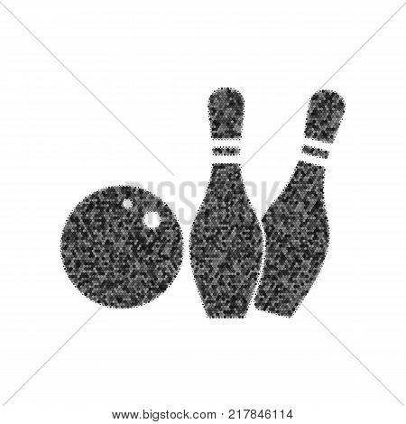 Bowling sign illustration. Vector. Black icon from many ovelapping circles with random opacity on white background. Noisy. Isolated.