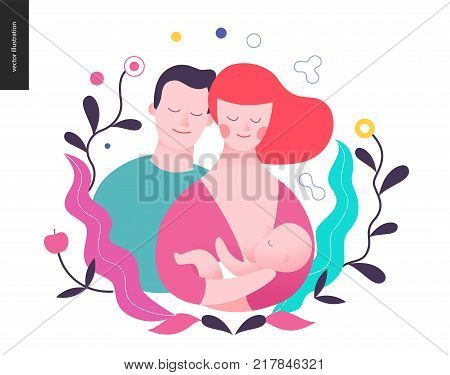 Reproduction - a breeding woman, baby and a man surrounded by plants