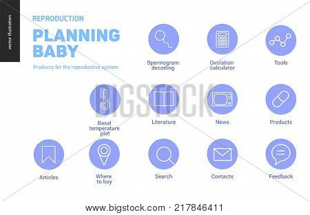 Reproduction - set of few outlined icons on fertility and pregnancy