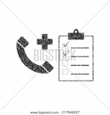 Medical consultation sign. Vector. Black icon from many ovelapping circles with random opacity on white background. Noisy. Isolated.
