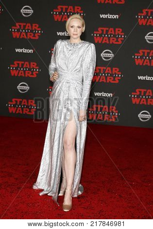 Gwendoline Christie at the World premiere of 'Star Wars: The Last Jedi' held at the Shrine Auditorium in Los Angeles, USA on December 9, 2017.