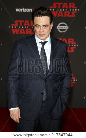 Benicio del Toro at the World premiere of 'Star Wars: The Last Jedi' held at the Shrine Auditorium in Los Angeles, USA on December 9, 2017.