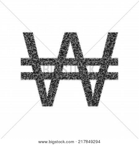 Won sign. Vector. Black icon from many ovelapping circles with random opacity on white background. Noisy. Isolated.