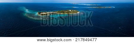 Aerial view of the tropical islands of Kaafu Atoll, Maldives