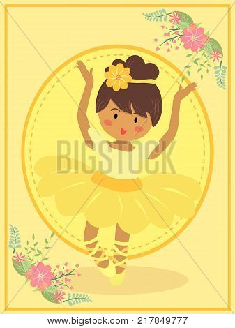 Cute Ballerina girl with yellow dress tutu dancing ballet on pink theme flower background vector illustration.