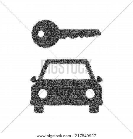Car key simplistic sign. Vector. Black icon from many ovelapping circles with random opacity on white background. Noisy. Isolated.