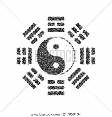 Yin and yang sign with bagua arrangement. Vector. Black icon from many ovelapping circles with random opacity on white background. Noisy. Isolated.