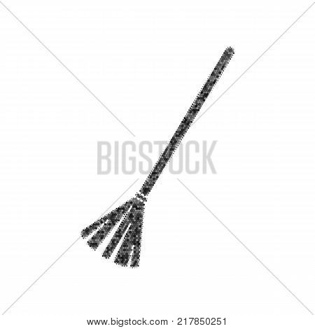 Sweeping broom sign. Vector. Black icon from many ovelapping circles with random opacity on white background. Noisy. Isolated.