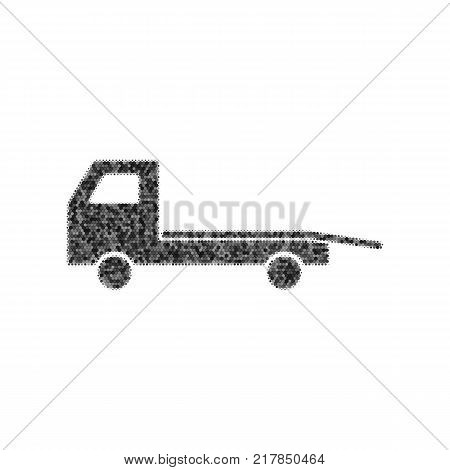 Service of evacuation sign. Wrecking car side. Car evacuator. Vehicle towing. Vector. Black icon from many ovelapping circles with random opacity on white background. Noisy. Isolated.