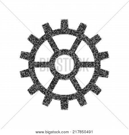 Gear sign. Vector. Black icon from many ovelapping circles with random opacity on white background. Noisy. Isolated.