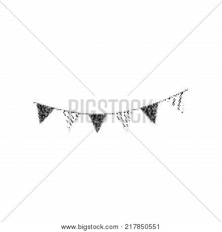 Holiday flags garlands sign. Vector. Black icon from many ovelapping circles with random opacity on white background. Noisy. Isolated.