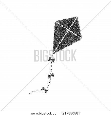 Kite sign. Vector. Black icon from many ovelapping circles with random opacity on white background. Noisy. Isolated.