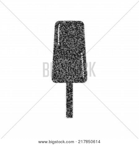 Ice Cream sign. Vector. Black icon from many ovelapping circles with random opacity on white background. Noisy. Isolated.