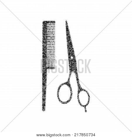 Barber shop sign. Vector. Black icon from many ovelapping circles with random opacity on white background. Noisy. Isolated.