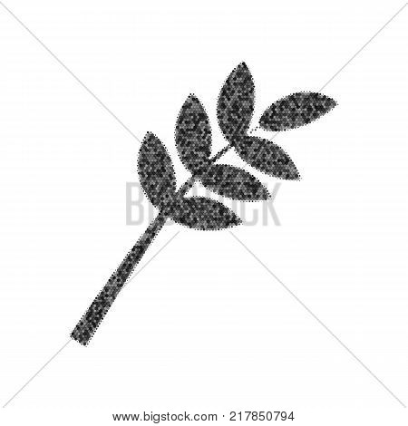 Tree branch sign. Vector. Black icon from many ovelapping circles with random opacity on white background. Noisy. Isolated.